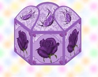 Printable Digital Gift Box Deep Purple Roses