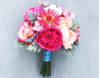 Peach, Hot Pink Romantic Silk Bridal Bouquet - Anemone, Peony, Rose, Ranunculus, Sweet Pea, Dusty Miller  - Large Size