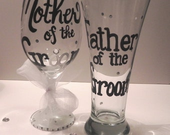Mother and Father of the Groom Glass Set / Also available for Mother and Father of the Bride