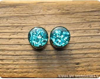 7/8, 22mm Last One! - READY TO SHIP - Disco Teal Glitter Plugs | Discontinued!