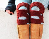 Knitted Leg Warmers Women's, Emofo Legwarmers Red, Ripped Knit Socks, Boot Toppers, Boho Socks, Boot Cuffs, Ripped Boot Socks, Steampunk