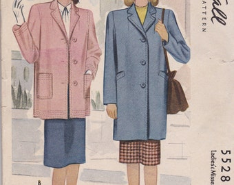 1940s Classic Coat Pattern McCall 5528 Size 14