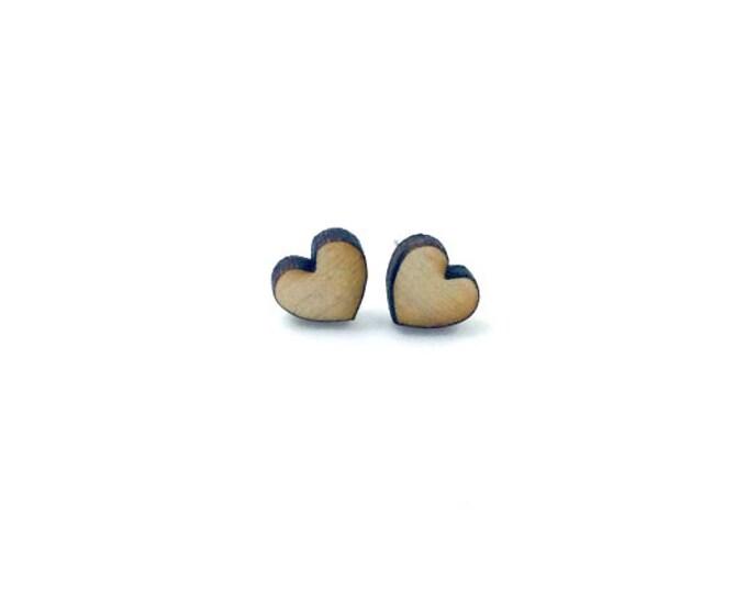 Simple Heart Earrings | Laser Cut Jewelry | Hypoallergenic Studs | Wood Jewelry