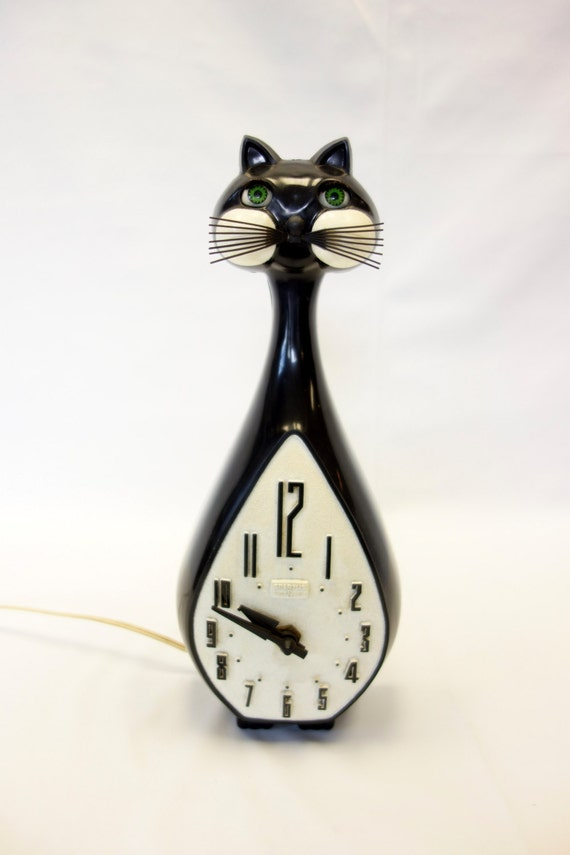 Kit cat clock vintage spartus long neck blinking eyes retro - Kitty cat clock ...