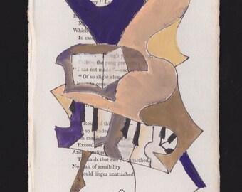 Original Gouache Painting on 1897 Poetry Page: Tête-à-tête