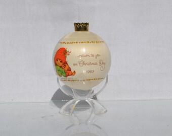 Vintage White Satin Hallmark Keepsake Ornament, Christmas Joy, 1983