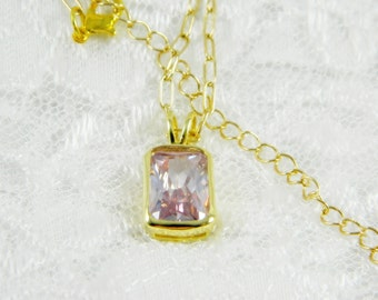 Amethyst Necklace, Pendant, Swarovski Crystal, Amethyst, Gold Tone, Chain, Free Shipping