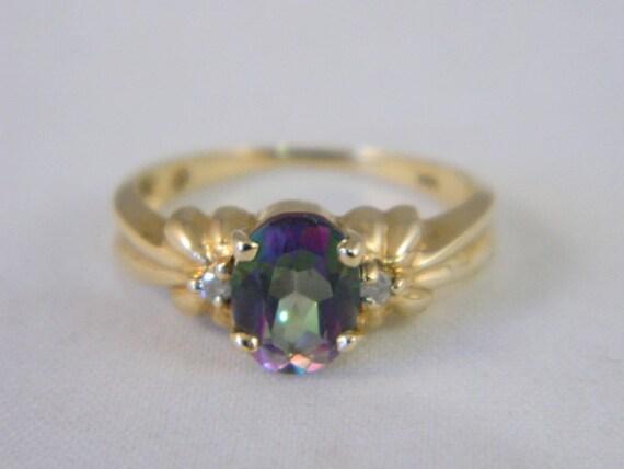 mystic topaz 10k yellow gold ring vintage mystic topaz and