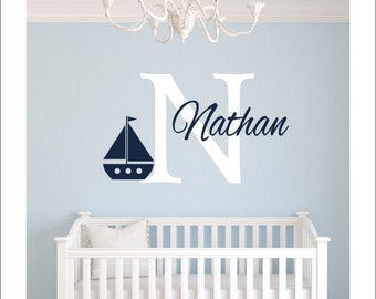 Personalized Sailboat Decal Nautical Sailboat Vinyl Wall Decal Kids Nursery Bedroom Wall Monogram Wall Decal Girls Boys Housewares