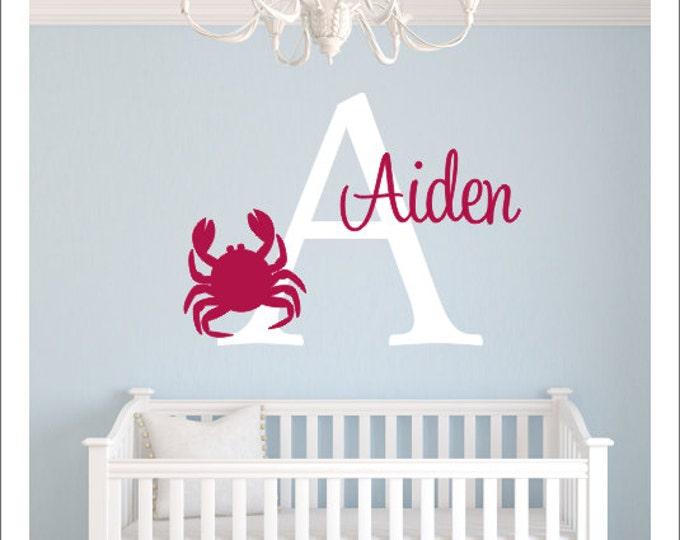 Personalized Crab Decal Large Vinyl Wall Decal Personalized Crab Decal Nautical Nursery Decal Children Bedroom Beach Crab Everything Else