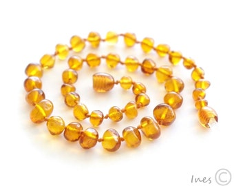 Baltic amber baby teething necklace honey rounded amber beads