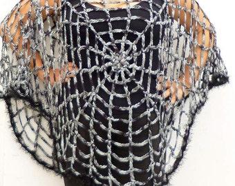 Spider Web Poncho Cape One Size Women's Clothing Gothic Grunge Hippie One Size Halloween