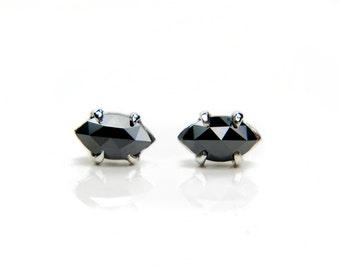 Black diamond stud earrings, 14k or 18k white gold, rose cut marquise black diamonds, bridal earrings or anniversary present