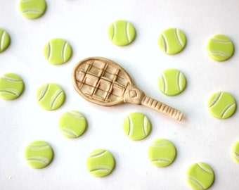 MINI Fondant tennis cupcake toppers - Sports-Themed Fondant Cupcake Toppers - Perfect for Cupcakes, Cookies and Other Edibles