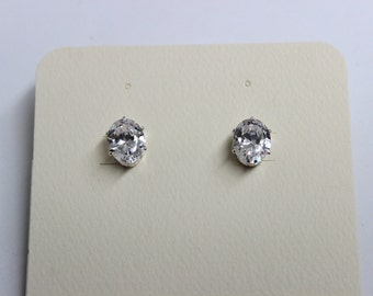 8 X 10 Oval CZ Earrings With Sterling Silver 6 Prong Settings