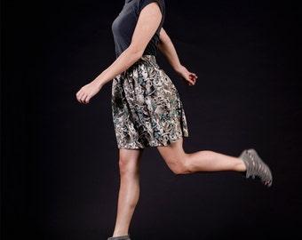 KOALA BEAR, green / brown / white, high waisted mini skirt, elastic band in the back, one size, cotton