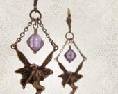 Fairy Earrings - Bohemian Woodland Victorian Fantasy - Lilac Purple Plum
