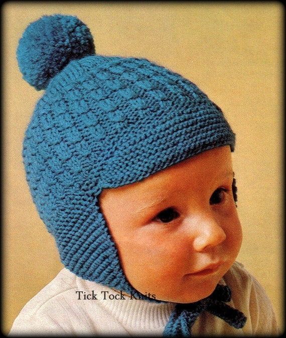 Knitting Pattern For Baby Hat With Brim : No.350 Baby Hat Knitting Pattern PDF Vintage Earflap Hat