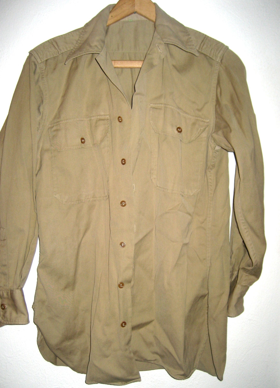 Vintage Khaki Long Sleeve Button Down Shirt By
