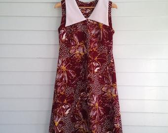 Vintage Burgundy Floral Dress, Vintage 70s Sleeveless, Large Extra Large Vintage Dress, L, XL, Vintage Red Dress, Deep Dress, 40-36-44