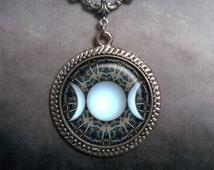 Triple Goddess necklace, goddess jewelry, goddess necklace, Wiccan jewelry, pagan jewelry, Art Deco necklace, Moon Goddess necklace