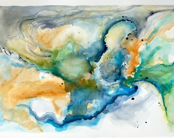 "Large original watercolor abstract painting, Titled: 'Star Pool', 26"" x 36"" wall art watercolor board"