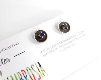 Amethyst Sterling Silver Stud Earrings - Oxidized Black Silver Studs - Gemstone Stud Earrings - Cute Gem Earrings - 2mm amethyst gemstones