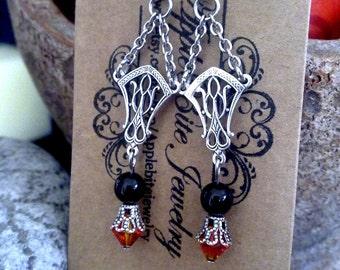 Gothic Black Pearl Earrings Swarovski Crystal Earrings Fireopal Dangle Earrings Gothic Jewelry Edwardian Jewelry