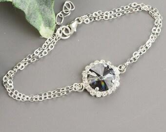 Charcoal Gray Bracelet - Gray Swarovski Crystal Bracelet - Grey Crystal Bridesmaid Jewelry - Wedding Jewelry - Bridal Jewelry