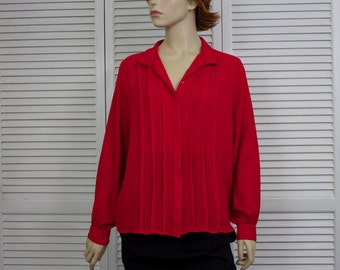 Vintage Red Blouse Size 12/14 1980s