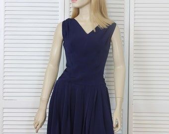 Vintage Dress 1950s Navy Blue Size 11 Day Dress