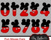Mickey Mouse clipart numbers, Mickey clipart clip art scrapbooking, Mickey red black clipart number, Mickey numbers ear ears clipart