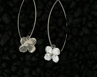 Hydrangea Blossom Earrings, Shiny~Long Ear Wires...Fine & Sterling Silver~Flowers~Artisan Hand Made