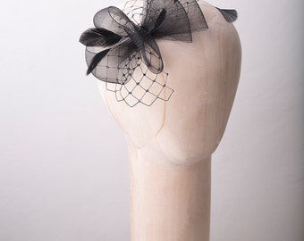 Bridal feather headpiece, wedding fascinator, bridal headpiece