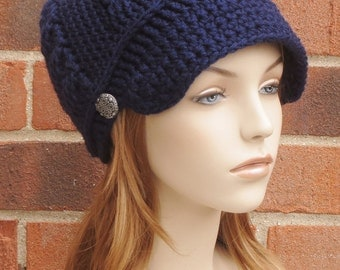 Crochet Newsboy Hat - Womens Navy Blue Newsboy Hat - Slouchy Newsboy Beanie Button Hat - Crochet Cabled Hat with Brim - // THE ADDISON //