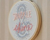 "SALE!! Sparkle & Shine - Purple and Pink Quote 4"" Embroidery Hoop Wall Ornament"