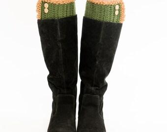 Olive Knit Button Boot Cuffs, Boot Topper, Scalloped, Ruffled, Crocheted, Handmade, Boot Warmer, Women's Winter Accessory