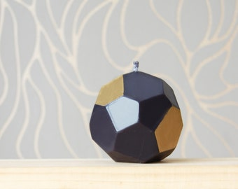 Geometrical Handmade Candle - Black Metallic Home Decor - Faceted Black Gold Candle - Modern Home Decor Home Gift, Stylish Black Gold Candle