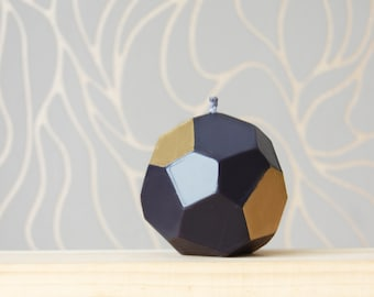Geometrical Handmade Candle - Black Metallic Home Decor - Faceted Black Gold Candle - Modern Christmas Decor Home Gift - Christmas Gift -