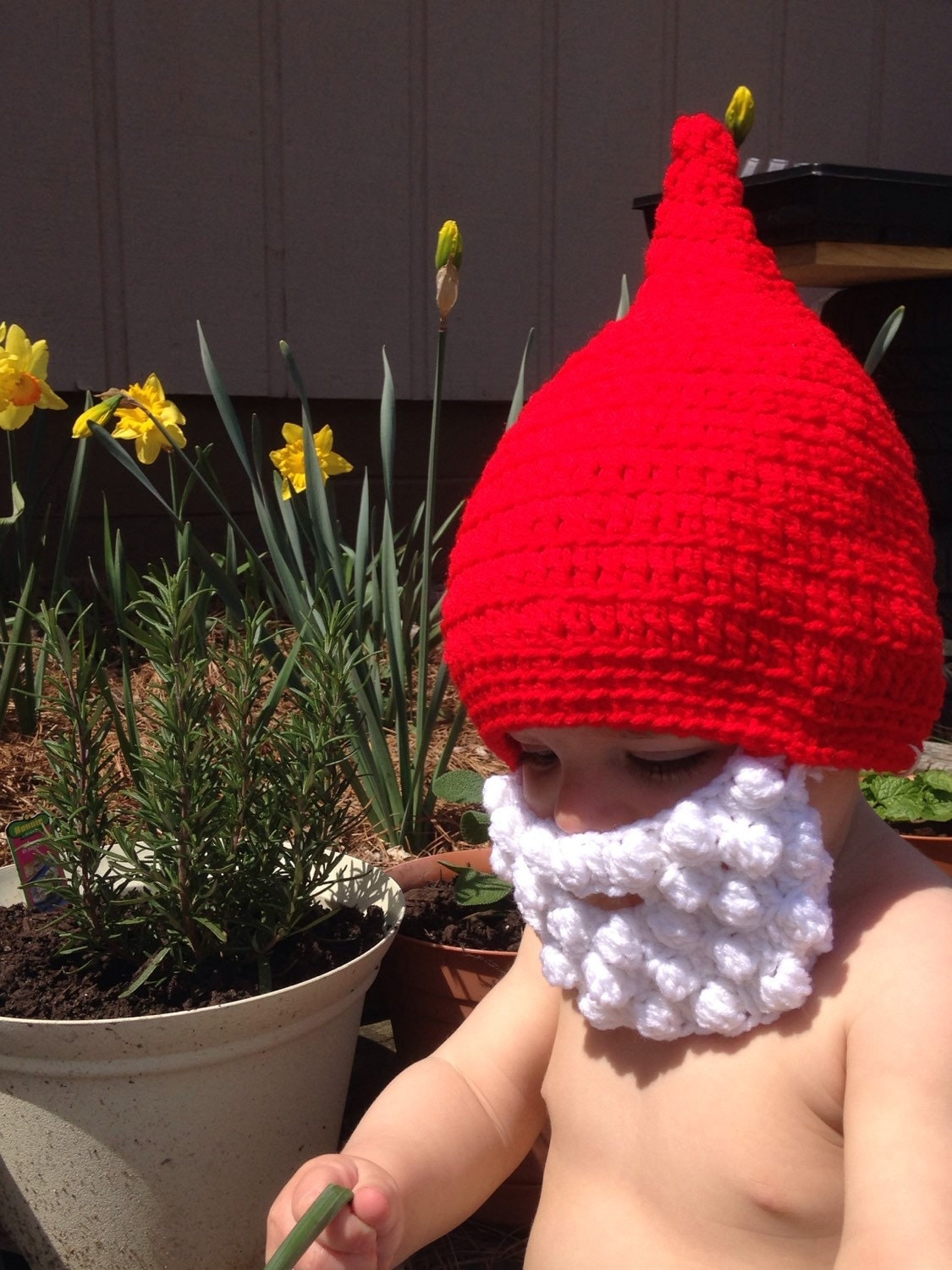 Baby Gnome: Garden Gnome Baby Hat Baby Gnome Baby Beard Hat Funny Baby