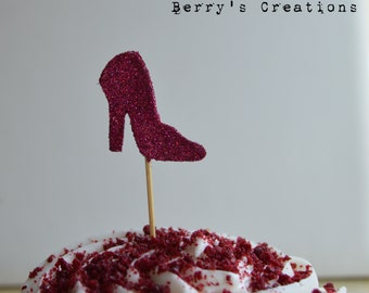 Shiny Fire Red Glitter Heel Cupcake Topper. 20 Pieces