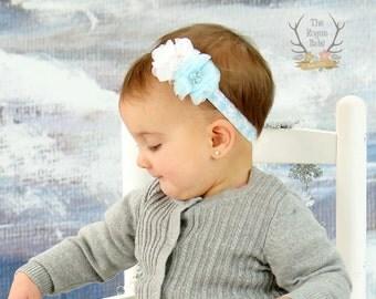 Winter Snowflake Headband - White Light Blue -  Baby Newborn Infant Photo Prop Toddlers Girls Women