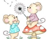 Digi Stamp Dandelion Wishes - Birthday, Mouse, Mice, Birthday, Mothers Day, Party Invitations etc