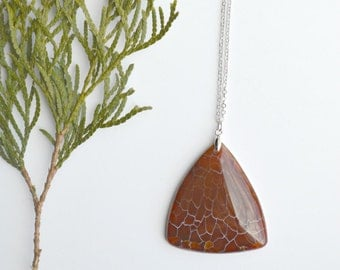Rust Agate Triangle Pendant Dragon Vein Agate Long Layering Necklace Stone Jewelry