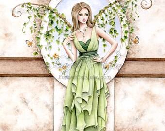 Fairy Art Print - Fantasy Fairy Painting - Green Fairy Art Sarah Alden