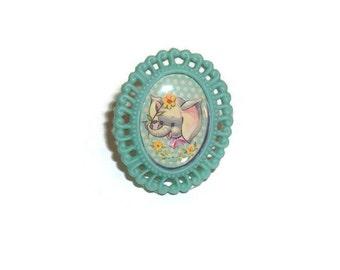 Cute Elephant Cameo Ring, Vintage Baby Animal Pastel Green Kawaii Adjustable Ring