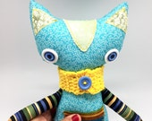 Soft Blue Calico Cat Doll with crocheted scarf, Handmade Fabric Doll toy cat with green ears, Kitty Cat Birthday present, shelf sitter