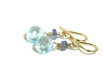 blue topaz and tanzanite drop 14k gold filled earrings, light blue gemstone dangle earrings, semi precious, handmade jewelry by girlthree