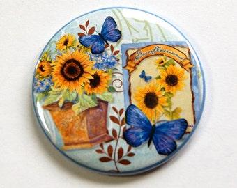 Sunflower mirror, Pocket mirror, Floral mirror, Purse mirror, glass mirror, mirror, mirror for purse, sunflower, gift for her (4666)