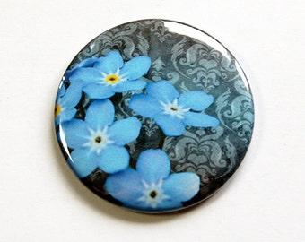 Flower mirror, Pocket mirror, Floral mirror, Purse mirror, glass mirror, mirror, mirror for purse, blue flowers, forget me not (4667)